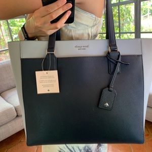 LAPTOP TOTE KATE SPADE CAMERON NCHTCP BLUE LEATHER